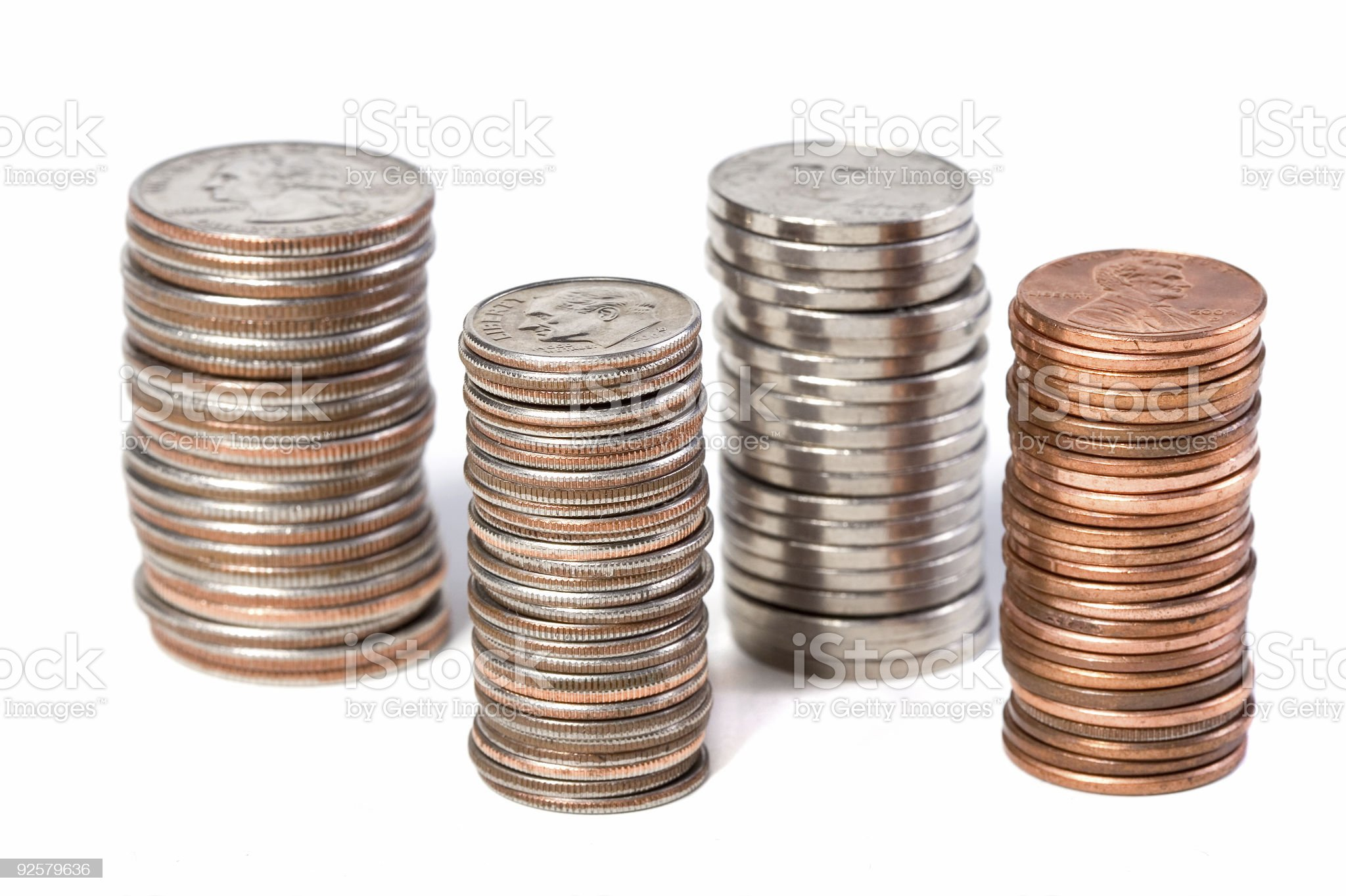 Offset Coin Stacks royalty-free stock photo