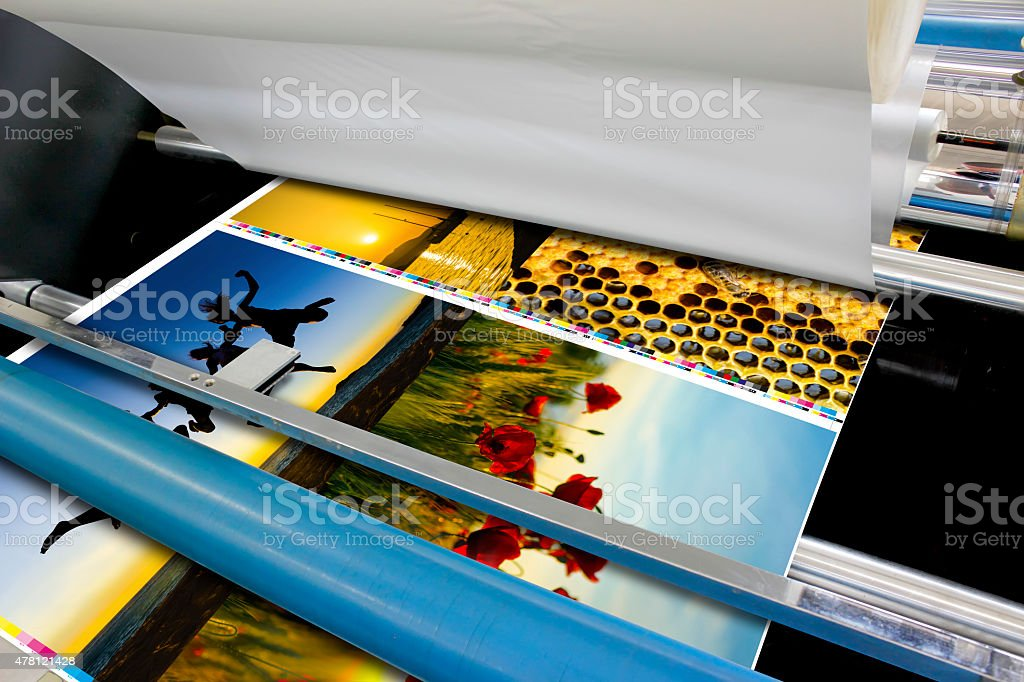offset machine roll foil laminator detail stock photo