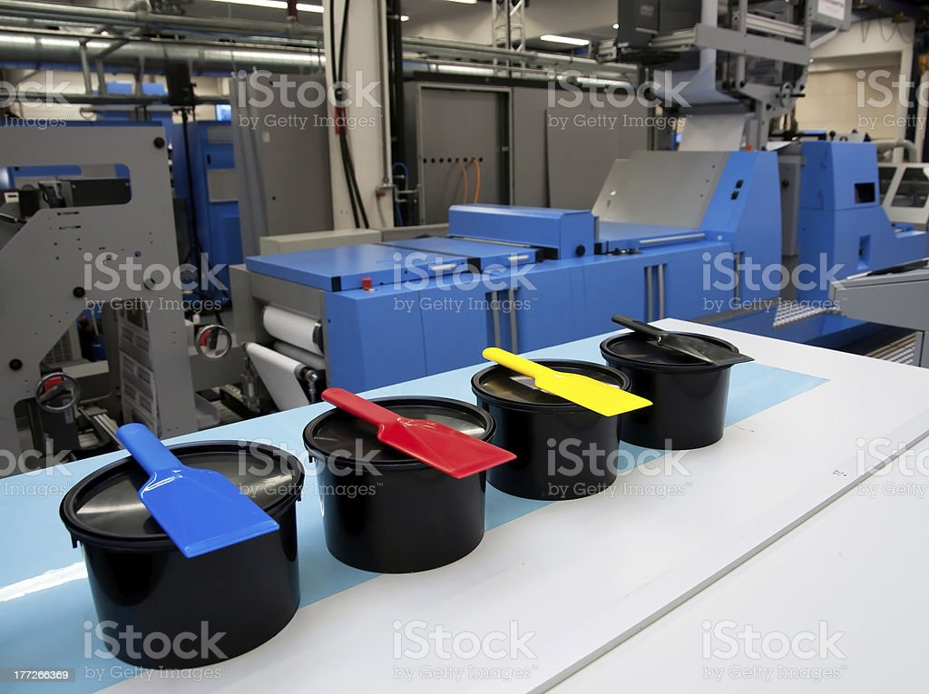 Offset press printing for labels stock photo