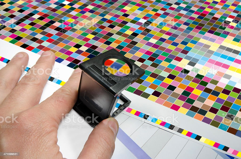 Offset print color management. cmyk stripe loupe control royalty-free stock photo