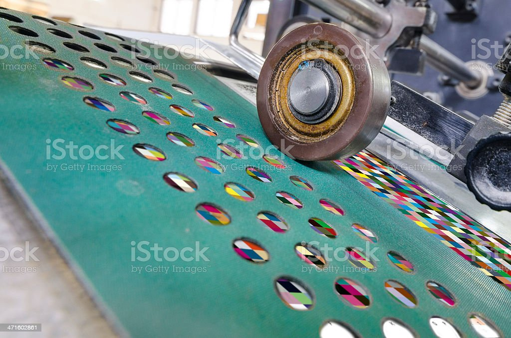 offset Printing machine roller close up, wide shoot royalty-free stock photo