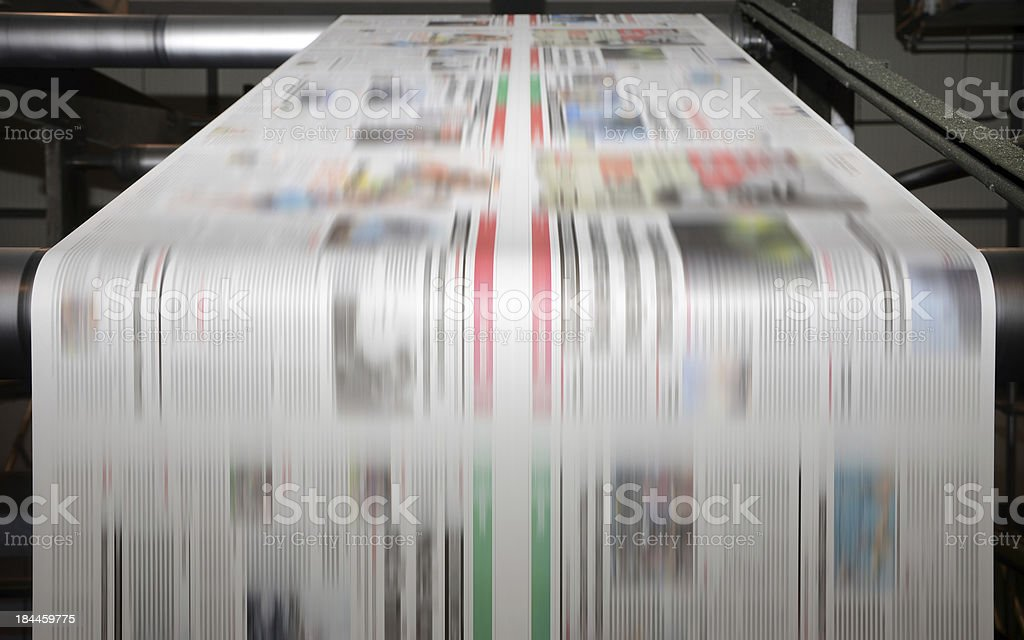 Offset printing press at work stock photo