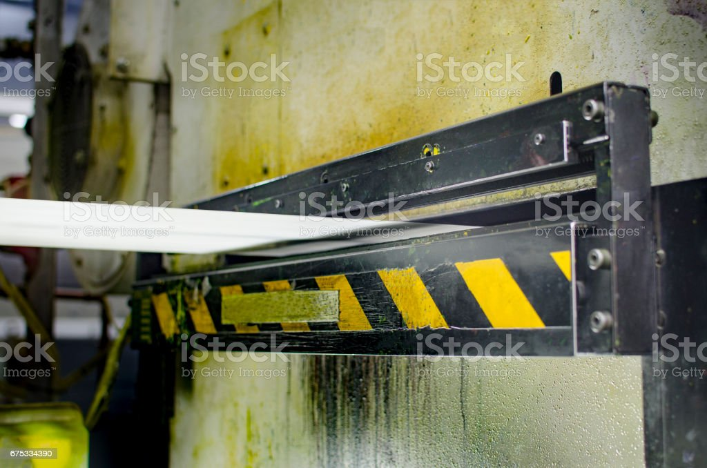 Offset printing print machine detail of roll paper stock photo
