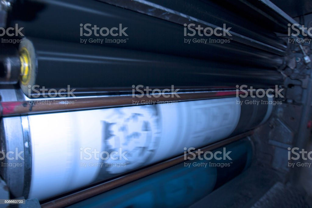 offset printing rollers stock photo