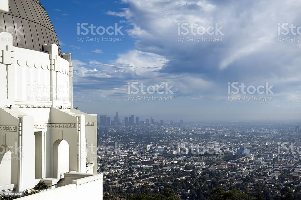 Offset view of Griffith Observatory with the city background stock photo
