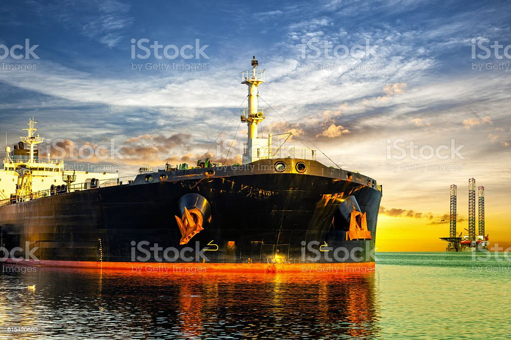 Offshore area at sunset stock photo