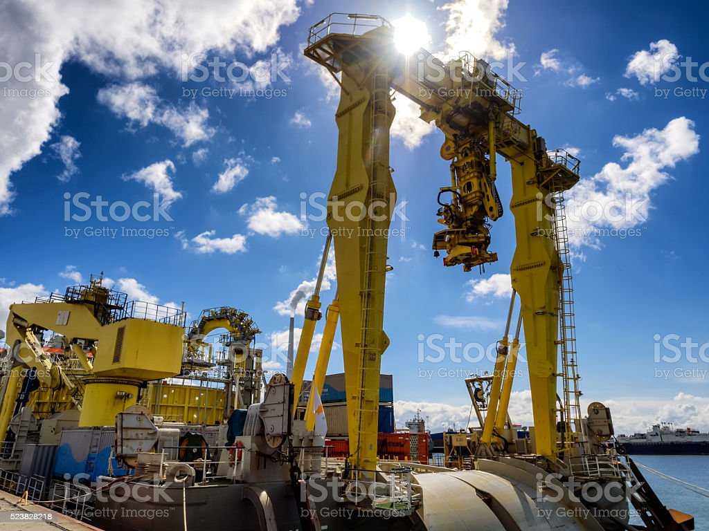 Offshore cable rig in Esbjerg harbor, Denmark stock photo