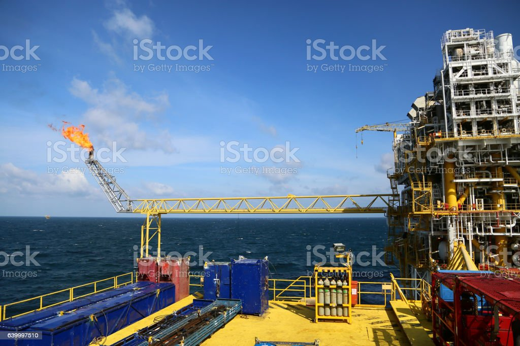 Offshore construction platform for production oil and gas. stock photo