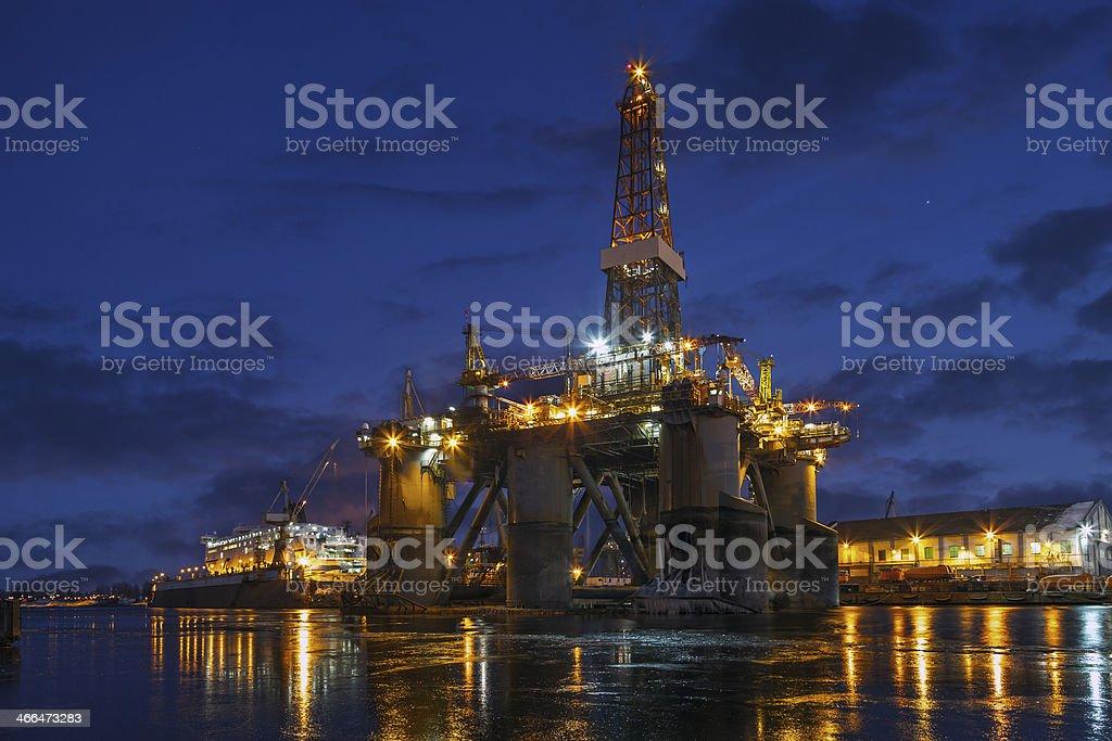 Offshore drilling platform in repair stock photo