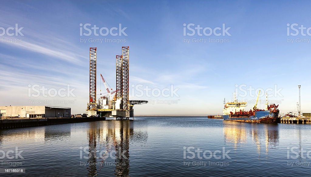 Offshore drilling rig in Esbjerg harbor, Denmark stock photo