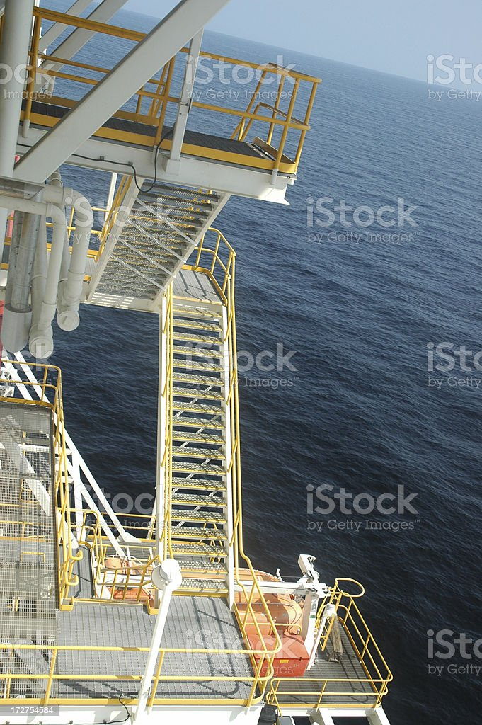 Offshore drilling rig - stairs royalty-free stock photo