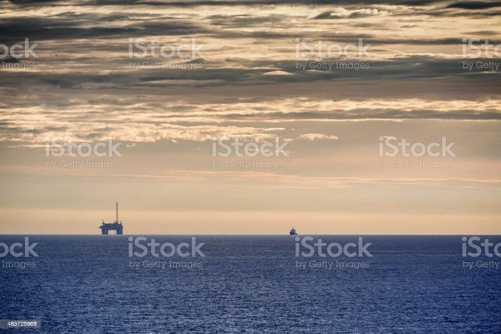 Offshore Fracking Drilling Fracking Rig stock photo
