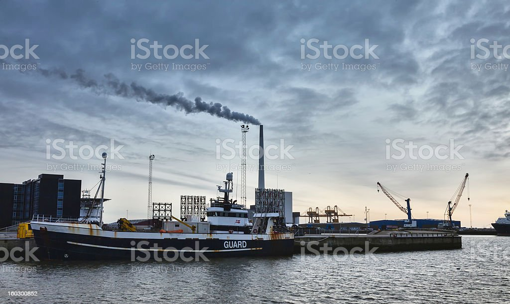 Offshore harbor in Esbjerg, Denmark stock photo