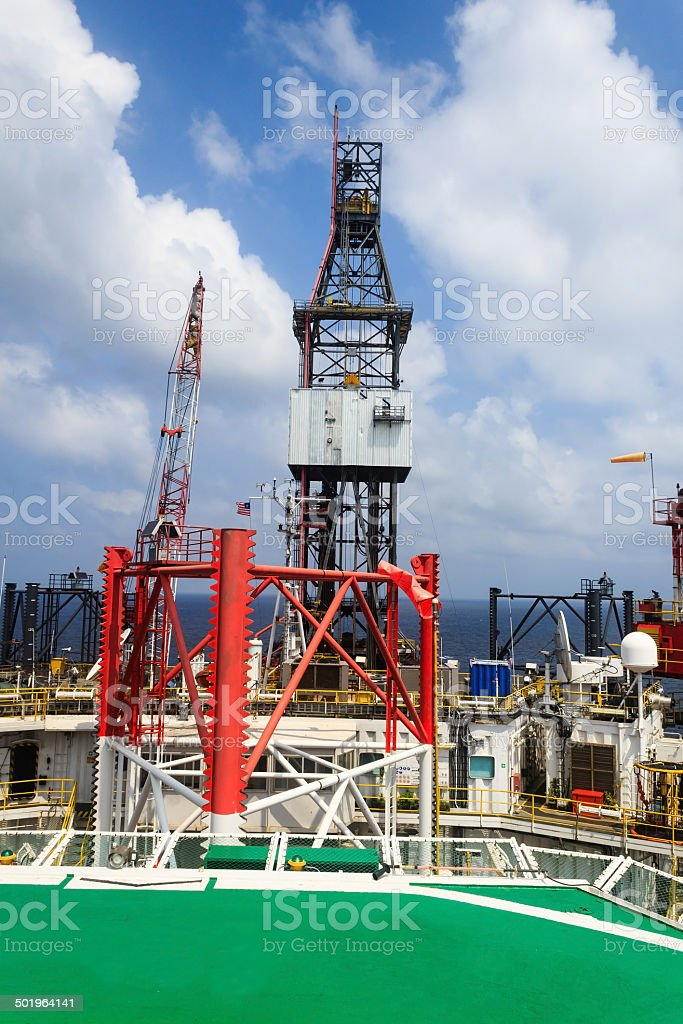 Offshore Jack Up Drilling Rig in The Middle of The Ocean royalty-free stock photo