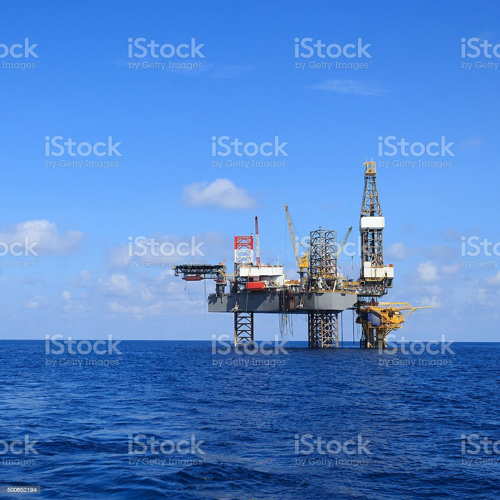 offshore jack up drilling rig stock photo