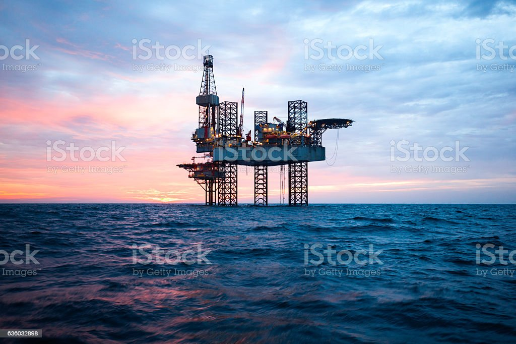 Offshore Jack Up Rig in The Middle of The Sea stock photo