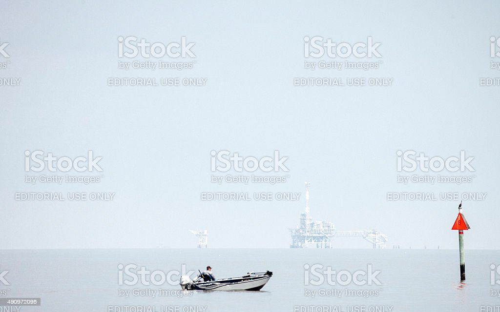 Offshore natural gas production. stock photo
