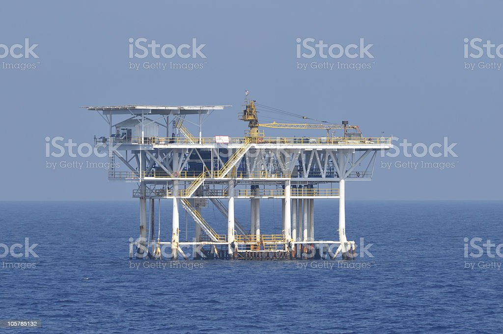 Offshore natural gas production platform stock photo