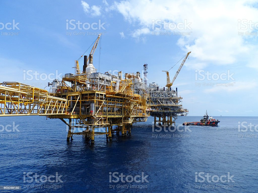 Offshore oil and gas central process platform stock photo