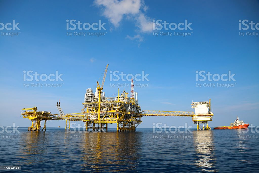 Offshore oil and gas exploration equipment stock photo