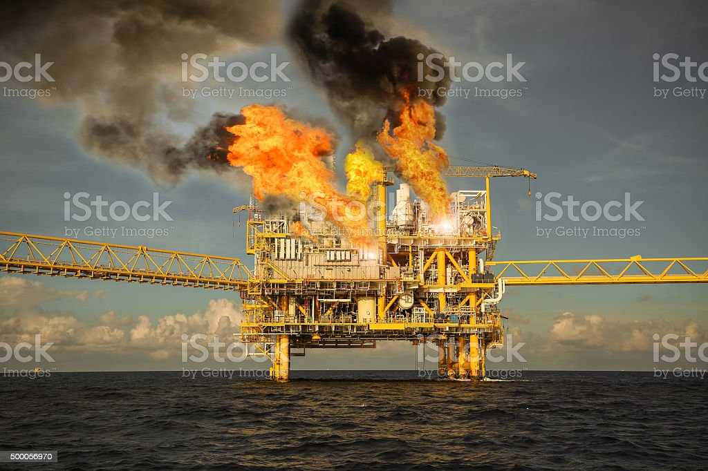 offshore oil and gas fire case or emergency case, stock photo