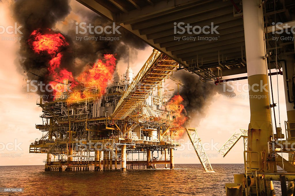 offshore oil and gas fire case or emergency case stock photo