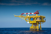 Offshore oil and gas wellhead remote platform.