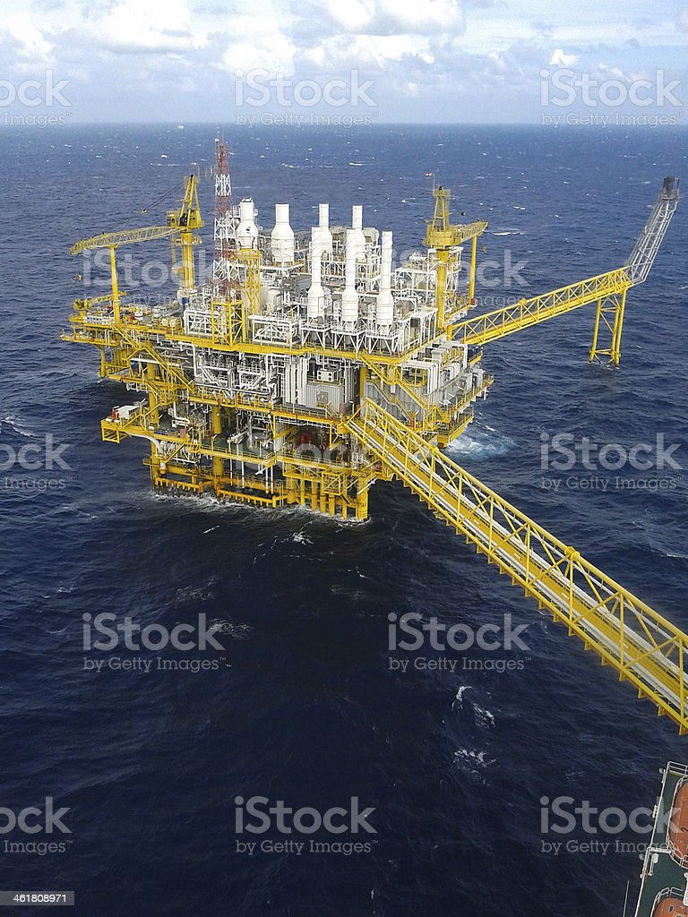 Offshore oil and rig platform. stock photo
