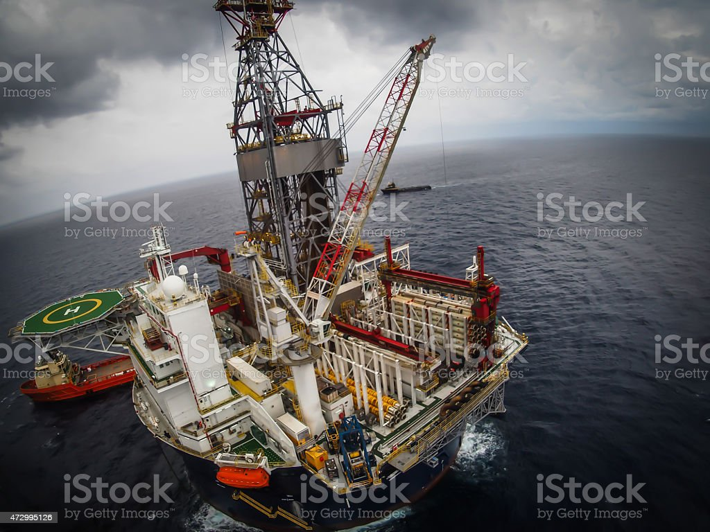 Offshore oil drilling rig or platform, aerial view, petroleum industry stock photo