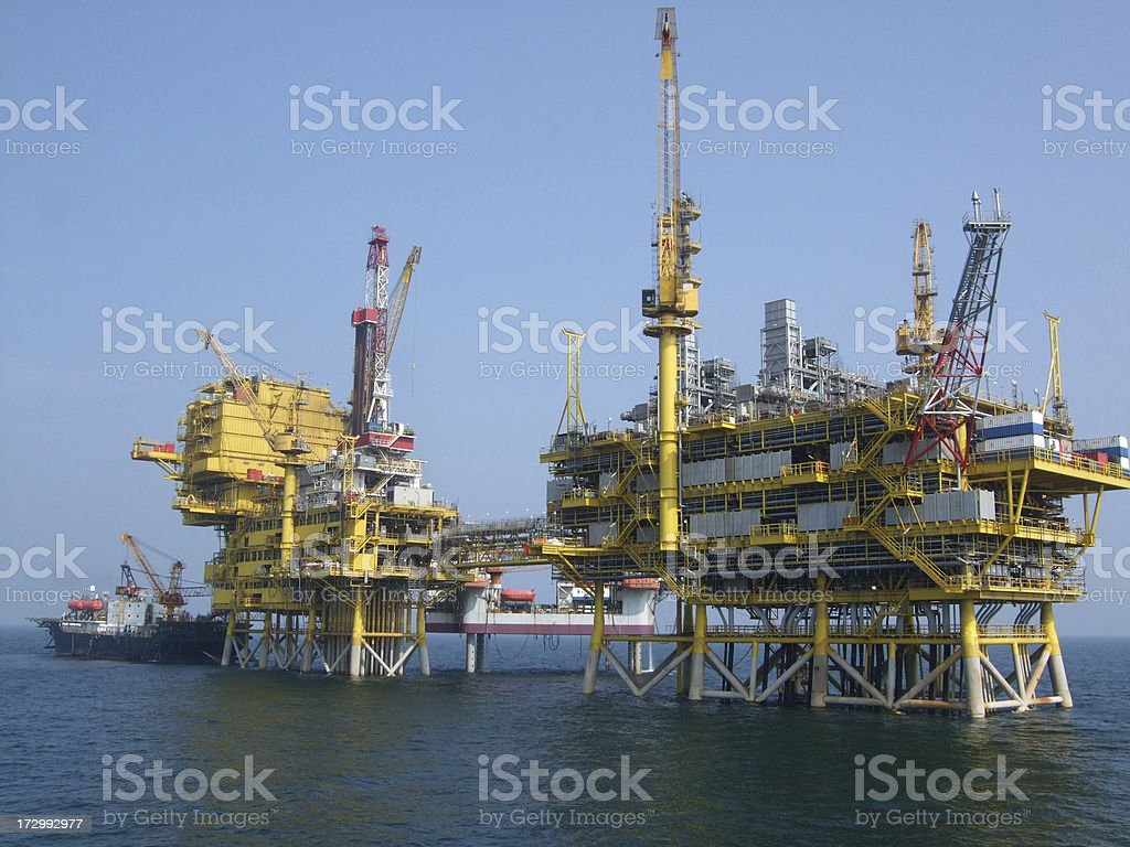 Offshore Oil Platform Complex royalty-free stock photo