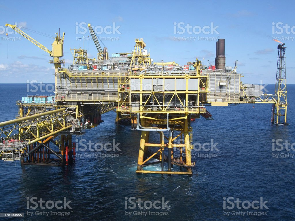 Offshore oil production platform royalty-free stock photo