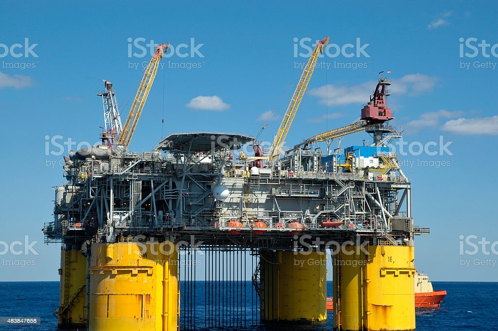 Offshore oil production platform stock photo