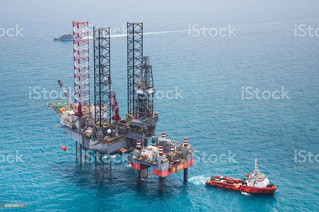 Offshore oil rig drilling gas platform stock photo