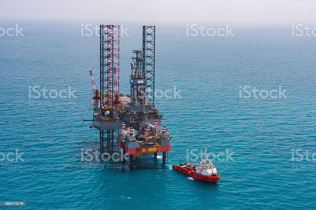 Offshore oil rig drilling platform stock photo