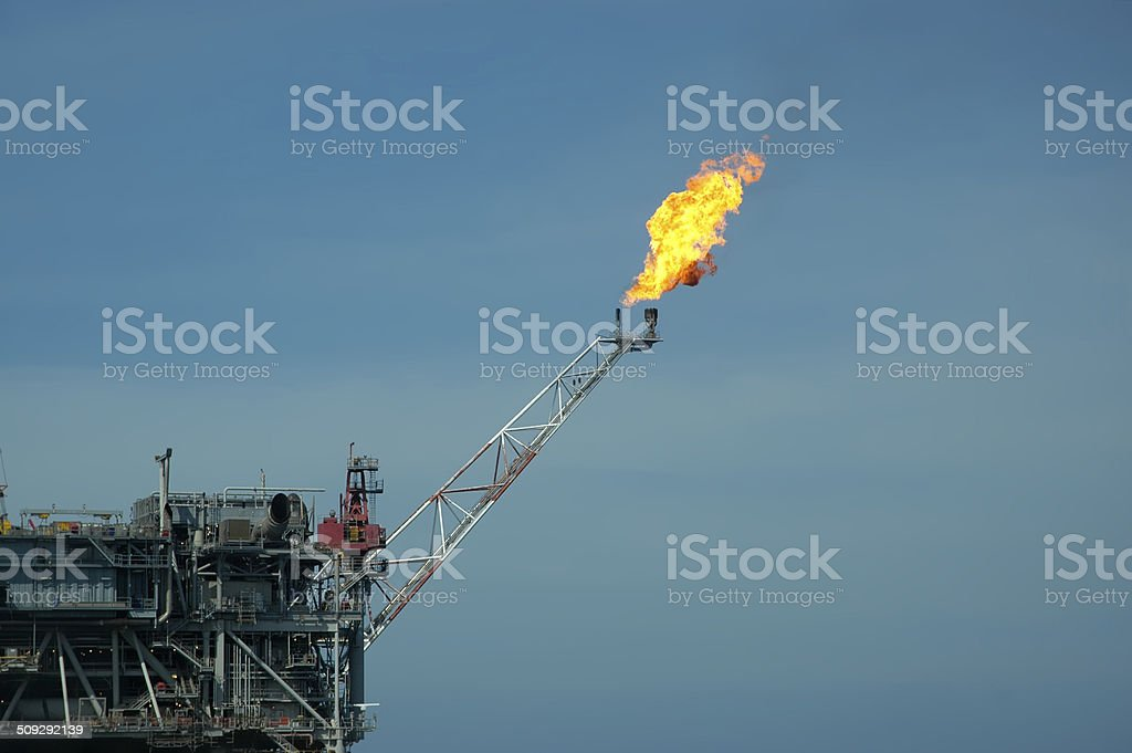 Offshore Oil Rig Flare stock photo