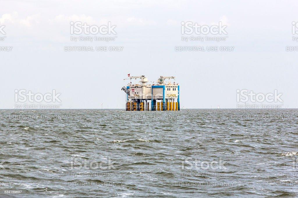 offshore oil rig near Harlingen, Nederlande stock photo
