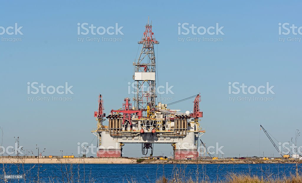 Offshore Oil Rig on Shore stock photo