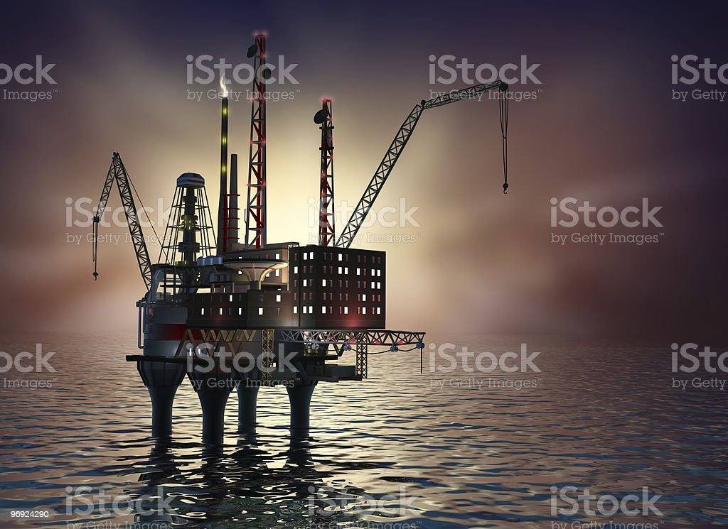 Offshore oil rig structure platform on the sunset stock photo