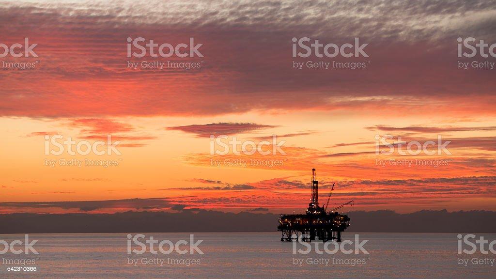 Offshore Platform in twilight stock photo