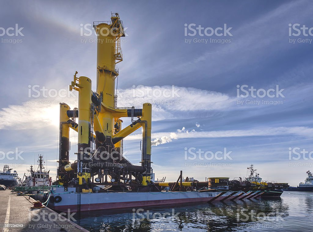 Offshore ponton rig in Esbjerg harbor, Denmark stock photo