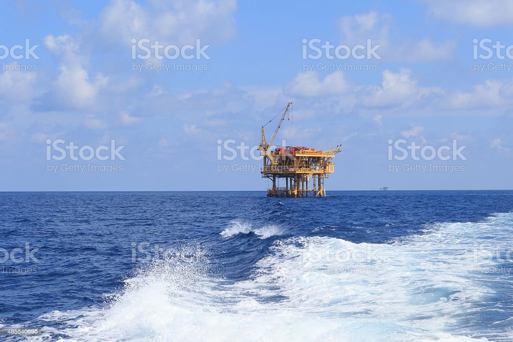 Offshore Production Platform in the Middle of Ocean stock photo