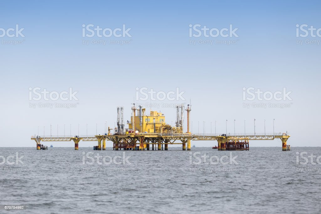 Offshore Production Platform In the Middle of Ocean. stock photo
