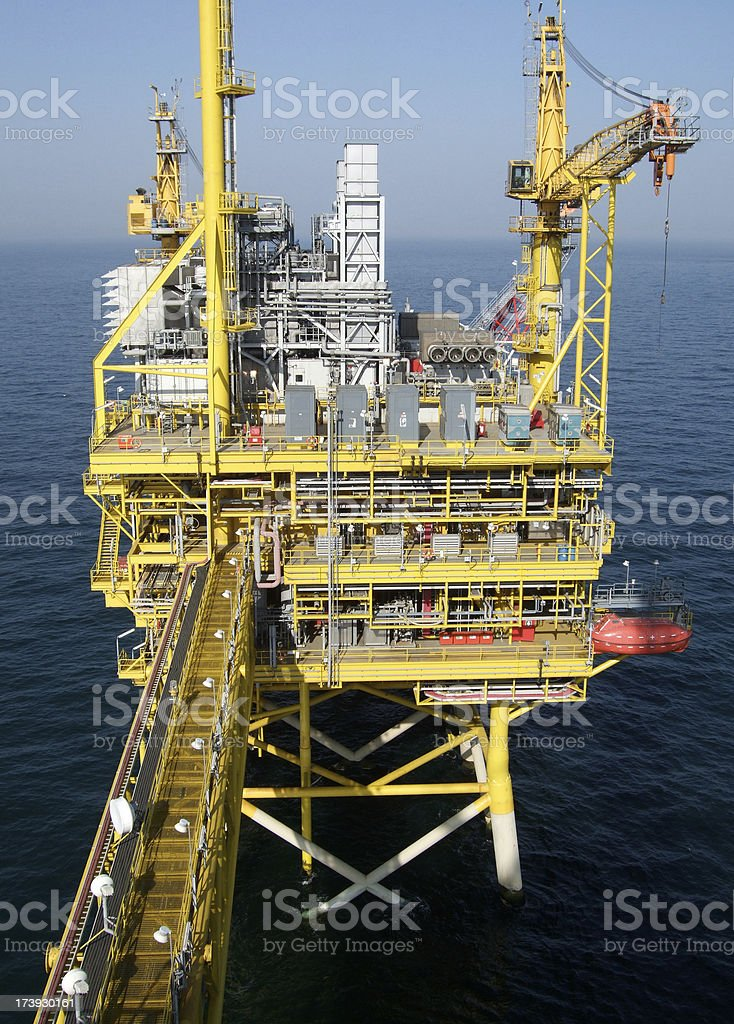 Offshore Production Platform with walkway royalty-free stock photo