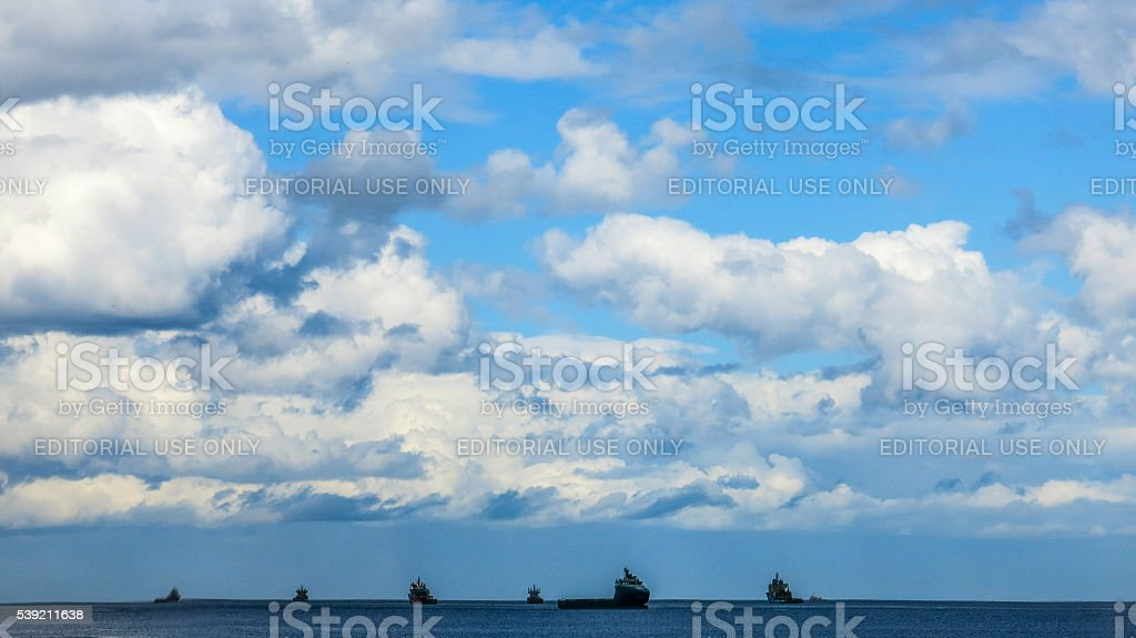 Offshore Supply Support Vessels, Horizon Skyscape, North Sea, Aberdeen stock photo