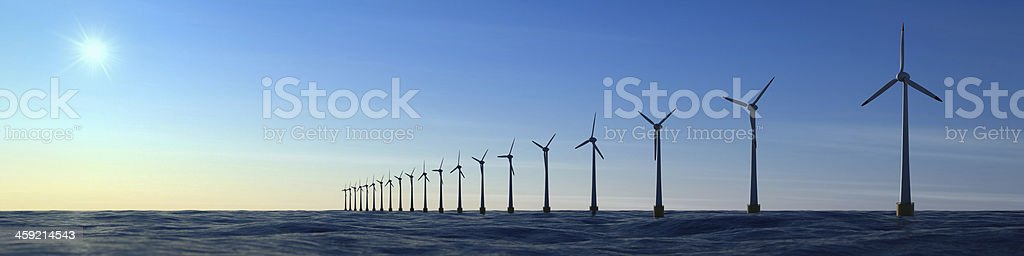 Offshore wind farm panorama stock photo