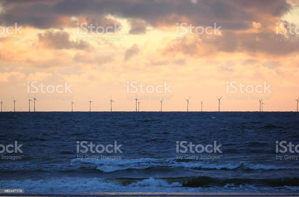 Offshore wind power. North Sea, the Netherlands. stock photo