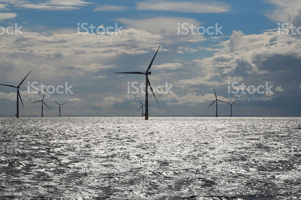 Offshore Wind turbines - power generation stock photo
