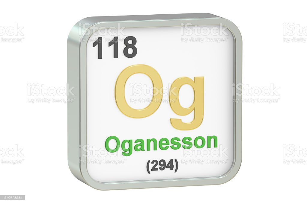 Oganesson chemical element, 3D rendering stock photo