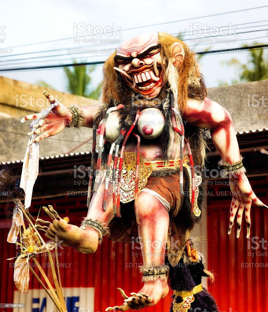 Ogoh-Ogoh Balinese ogress statue ready for the Nyepi Ngrupuk parade stock photo