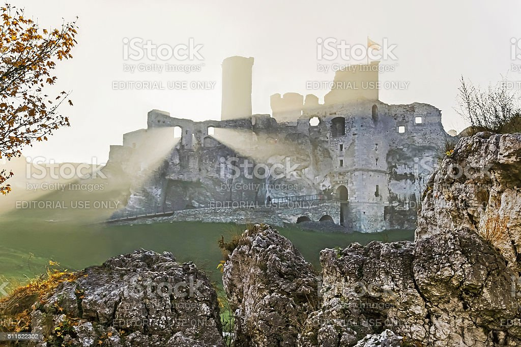 Podzamcze, Poland - October 31, 2015: Ogrodzieniec castle. Poland. stock photo